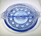 Vintage Indiana Glass Windsor Blue Cut Crystal Divided Relish Dish Glassware