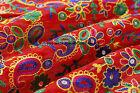 5 YD Silk Fabric Embroidered Sewing Dress Crafts Red Dupioni Silk Fabric Indian