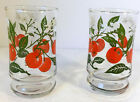 Pair Vintage Orange Juice Glasses 6 oz Oranges Green Leaf White Flower pattern