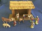 Vintage 12 piece Miniature Nativity Set with Creche Made in Germany
