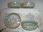 Set of 4 Jeannette Green Glass Bowl Hellenic Grecian Motif With