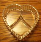 HEART SHAPED CLEAR GLASS DIVIDED SERVING/CANDY DISH 2 1/2