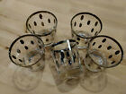 Set Of 5 Vintage Dorothy Thorpe Silver MCM Oval PolkaDot Whisky Low Ball Glasses