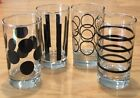 Vintage 50s 60s Mid Century Modern Drinking Glasses 8 oz.Black Accent RETRO