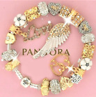 Authentic Pandora Bracelet Gold Angel Wing MOM MOTHER DAY With European Charms