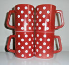 4~Federal Red/White Polka Dot~Coffee Mugs~Heat Proof