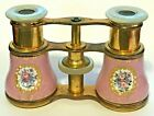 Vintage OPERA GLASSES French Enamel Pink Flowers Mother of Pearl Gold Antique