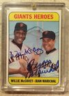 1969 Topps Willie McCovey Juan Marichal #572 Giant Heroes Signed Auto Blue