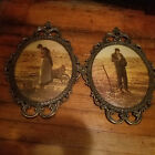 Vintage Ornate Convex Brass Framed Pictures The Angelus