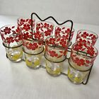 Vintage Hand Painted Red Yellow Floral Drinking Glasses Set with Caddie Holder