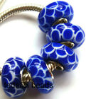 Wholesale Silver Lampwork Murano Glass Beads Fit European Charm Bracelet TJ025
