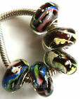 Wholesale Silver Lampwork Murano Glass Beads Fit European Charm Bracelet TJ032