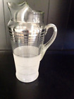 Mid Century Frosted Glass Cocktail Pitcher with Platinum Rings