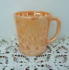 Vintage Fire King Iridescent Peach Lustre Luster Mug Coffee Cup Anchor Hocking