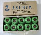 VINTAGE 1960s Clarks  Co ANCHOR Fast Colour Pearl Cotton Green x 10 in Box