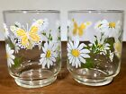 4 Vintage Mid Century Modern LIBBEY Painted Flower Juice Glasses/ Tumbler 6 oz.