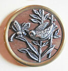 Extra Large Antique Metal Bird and Dragonfly Picture Button Wood Back  - 1 3/4