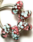 Wholesale Silver Lampwork Murano Glass Beads Fit European Charm Bracelet TK033