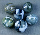 6 MINT ANTIQUE RAVENSWOOD GREY TRANSPARENT SWIRL MARBLES
