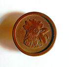 Antique Pressed Wood Picture Button - ROOSTER HEAD - 1 1/8