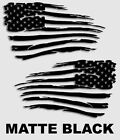 Set of 2 pc American Flag Decal Distressed Military Matte Black 10 x 18 V2