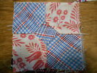 Vintage Antique 11 Bow Tie Quilt Blocks Hand Stitched Feed Sack Cotton 5X5 1940s