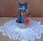 Vintage Jello Mold Primitive Decor ~ Black Kitty w/ Big Heart Prim Tag