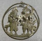 Rare Vintage Handmade Asian Oriental Figures Silver Pin Brooch with Pendant Loop