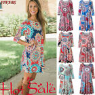 Plus Size Ladies Long Sleeve Floral Boho Women Party Evening Maxi Dress Clothing