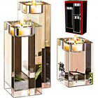 CANDLE HOLDER Glass SET of 3 PILLAR CRYSTAL SQUARE Tealight 3 6 CENTERPIECE