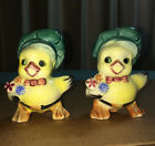 Vintage Japan CHEF DUCKS Salt Pepper Shaker Set WITH STRESS FRACTURE OR REPAIR