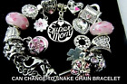 MOTHER CHARM BRACELET SUPER MOM POETIC BLOOMS LUCKY DAYS CLOVER STOPPER + Pouch