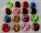 9 16 Set of 16 Translucent Glass Buttons w Opaque Swirl Overlays