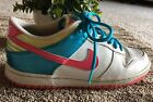 NIKE GIRLS SNEAKERS SIZE YOUTH 65 PEACE AND LOVE FLOWER POWER WHITE PINK BLUE