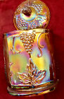 Vintage Antique Marigold Iridescent Carnival Glass Jar With Lid