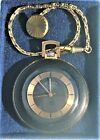 SUPERB SWISS ROTARY OPEN FACE POCKET WATCH 17 JEWELS GOLD PLATED KEY CHAIN BOXED
