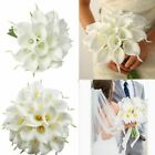 Artificial Real Touch Calla Lily Fake Flowers Bride Bouquet Wedding Party Decor