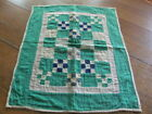 Antique Double Nine Patch doll quilt hand quilted old repairs Amish ?