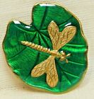 VINTAGE  BUTTON DRAGONFLY on a Lily Pad Realistic Green Enamel SIGNED  B2