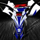 3D Gel Gas/Fuel Tank Pad Decal/Sticker Reflective Suzuki & GSXR Logo White/Blue