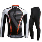 Outdoor Mens Pro Team Cycling Bike Long Sleeve Jersey Bib Pants Set GEL Pad Kit