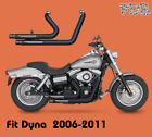 Fit HD Dyna 06 17 Super Glide Wide Glide Dual Pipes Muffler Exhaust Kit M1