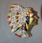 Vintage Native Enamel Chief American Indian w Headdress Figural Pin Brooch