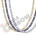 Men Women Figaro Necklace Chain Stainless Steel Gold Silver Black 3mm 12mm Link