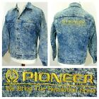 Vintage 80s PIONEER AUDIO Denim ACID WASH Jean TRUCKER Jacket Mens S Small USA