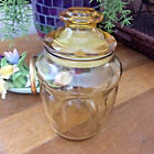 EUC Vtg Amber Panel Canister Apothecary Kitchen Storage Jar Lid CANDY DISH 7
