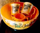 FIRE KING PEACH LUSTRE TOM AND JERRY PUNCH BOWL 6 MUGS Mint Free Shipping