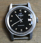 Vintage WALTHAM Black Dial Date Diver Style Watch FOR REPAIR MISSING BEZEL