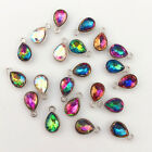 10pcs Gold silver waterdrop Charm Crystal Pendant beaded Jewelry Findings