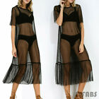 Women's Short Sleeve See-through Mesh Evening Cocktail Long Maxi Beach Dress Top